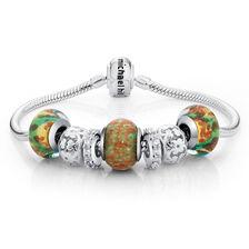 "Glass, Cubic Zirconia & Sterling Silver 19cm (7.5"") Charm Bracelet"