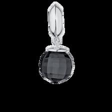 Smoky Grey Glass & Sterling Silver Wild Hearts Dangle Charm