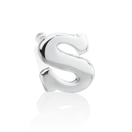 """S"" Initial Stud Earring in Sterling Silver"