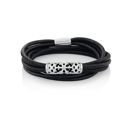"38cm (15"") Ready to Wear Wild Hearts Bracelet with Cubic Zirconia in Black Leather and Stainless Steel"