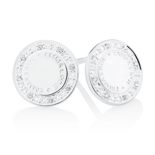 Emma & Roe Stud Earrings with Cubic Zirconia in Sterling Silver