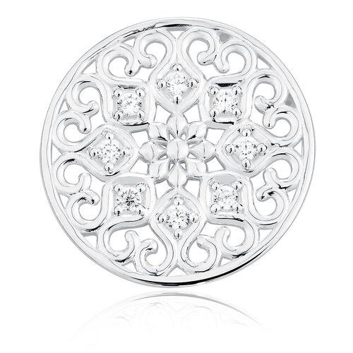 Cubic Zirconia & Sterling Silver Flower Coin Locket Insert