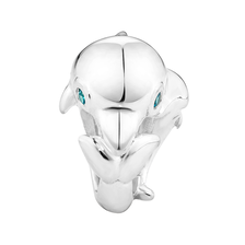 Blue Cubic Ziconia & Sterling Silver Dolphin Charm