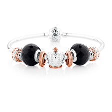 Starter Bangle with Diamonds & Black Glass in 10ct Rose Gold & Sterling Silver
