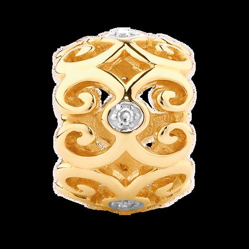 Diamond Set 10ct Yellow Gold Filigree Charm