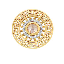 Diamond Set Aztec Coin Insert in 10ct Yellow Gold