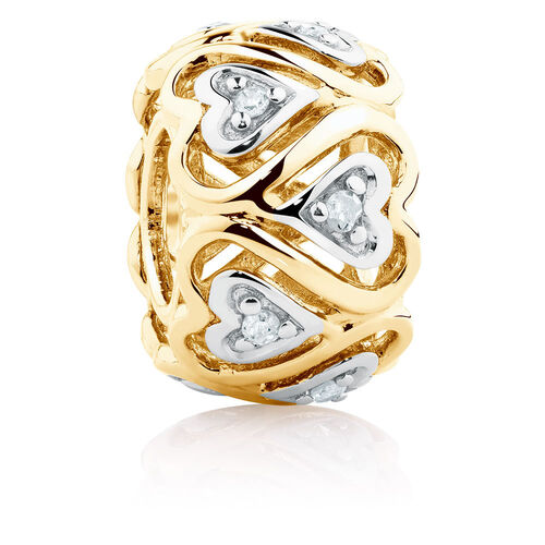 Diamond Set Running Hearts Charm in 10ct Yellow Gold