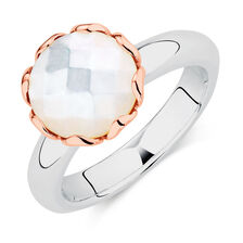 Mother of Pearl, Sterling Silver & 10ct Rose Gold Stacker Ring
