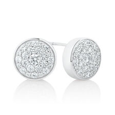 Stud Earrings & Tassel Earring Enhancer Set with Cubic Zirconia in Sterling Silver