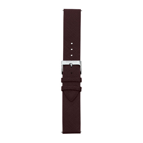 Large Watch Strap in Burgundy Leather & Stainless Steel