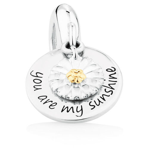 Daisy Dangle Charm in Sterling Silver & 10ct Yellow Gold