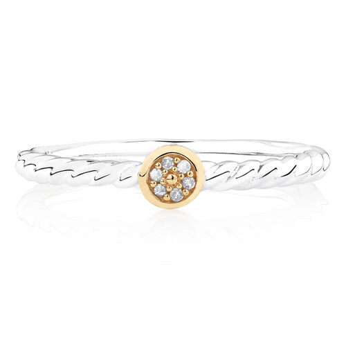 Diamond Set Stacker Ring in 10ct Yellow Gold & Sterling Silver