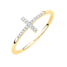Diamond Set Cross Ring in 10ct Yellow Gold