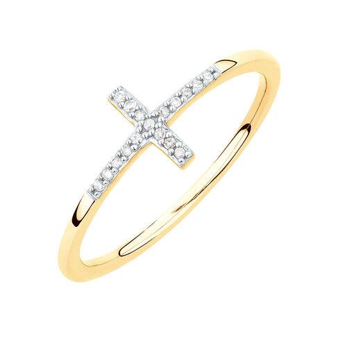 Diamond Set Cross Ring in 10ct Yellow Gold