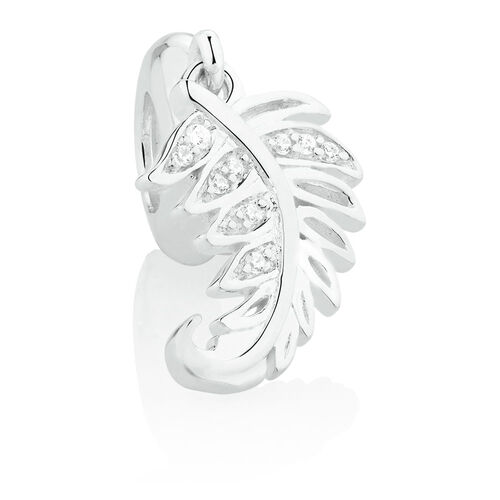 New Zealand Fern Dangle Charm with Cubic Zirconia in Sterling Silver