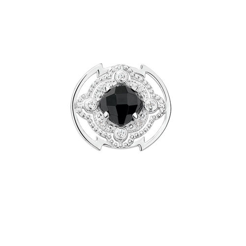 Art Deco Mini Coin Locket with Black Cubic Zirconia in Sterling Silver