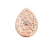 Filigree Mini Coin Locket Insert with Pink Crystal in 10ct Rose Gold