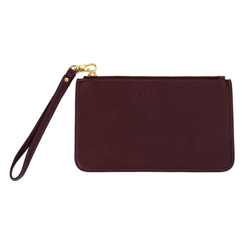 Clutch in Burgundy Leather