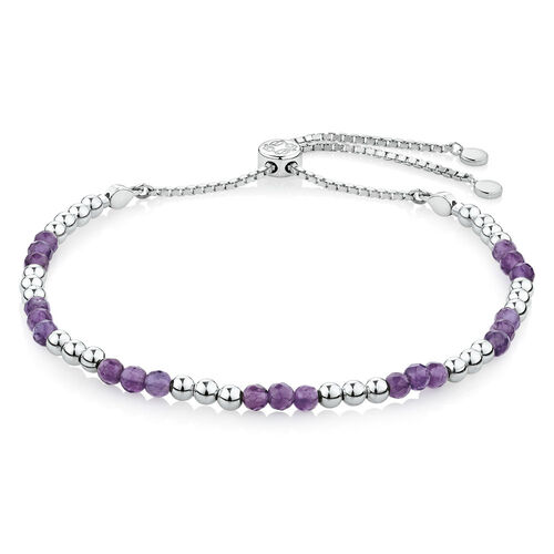 Adjustable Tranquillity Bracelet with Amethyst in Sterling Silver