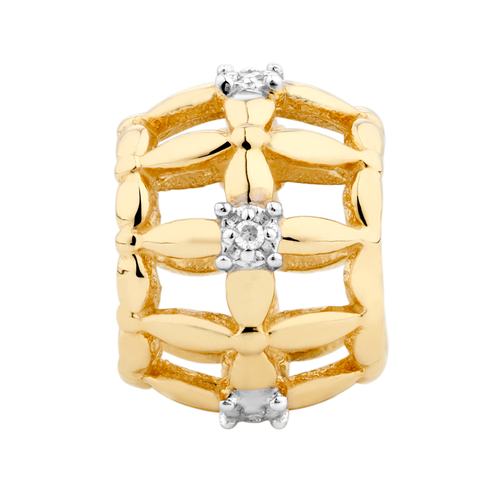 Diamond Set & 10ct Yellow Gold Cage Charm