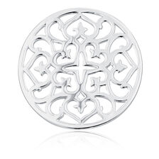 Sterling Silver Heart & Cross Pattern Coin Locket Insert