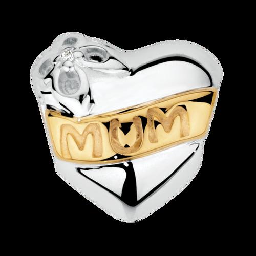 Diamond Set, 10ct Yellow Gold & Sterling Silver 'Mum' Charm