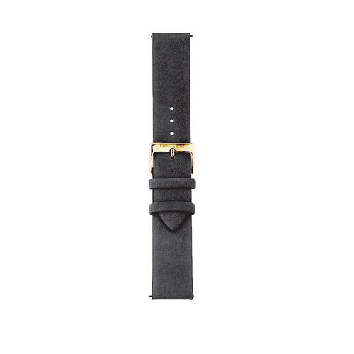 Large Watch Strap in Black Suede Leather & Gold Tone Stainless Steel