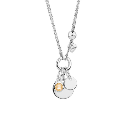 November Mini Pendant with Yellow Cubic Zirconia in Sterling Silver