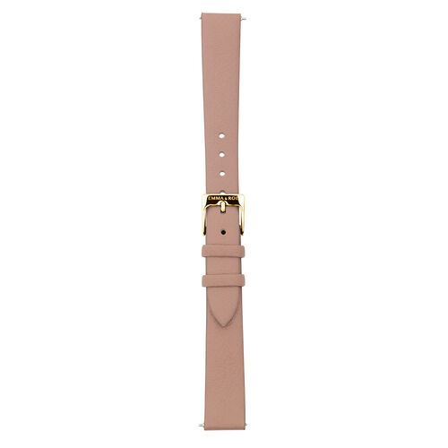 Small Watch Strap in Rose-Brown Leather & Gold Tone Stainless Steel