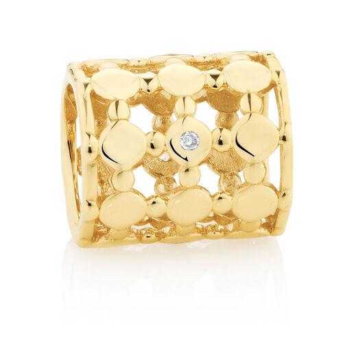 Diamond Set Wild Hearts Barrel Charm in 10ct Yellow Gold