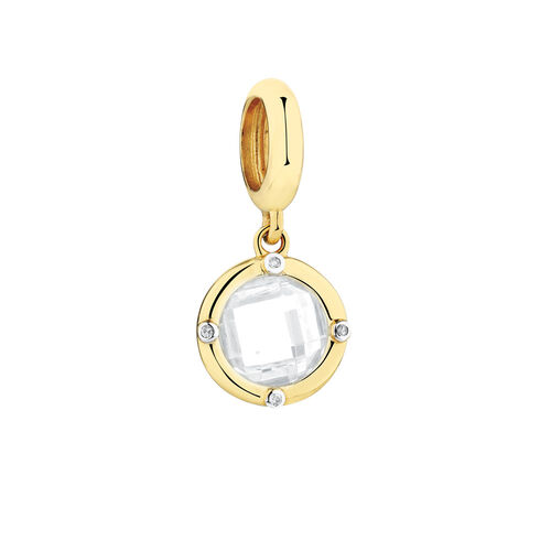 Diamond Set Wild Hearts Dangle Charm with White Cubic Zirconia in 10ct Yellow Gold
