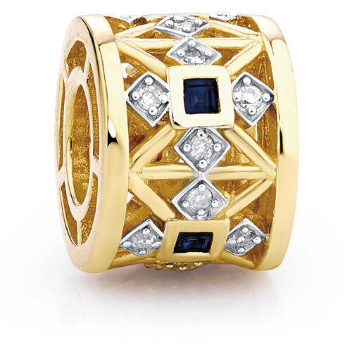 Created Sapphire, Diamond Set & 10ct Yellow Gold Charm