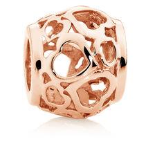 10ct Rose Gold Heart Filigree Charm