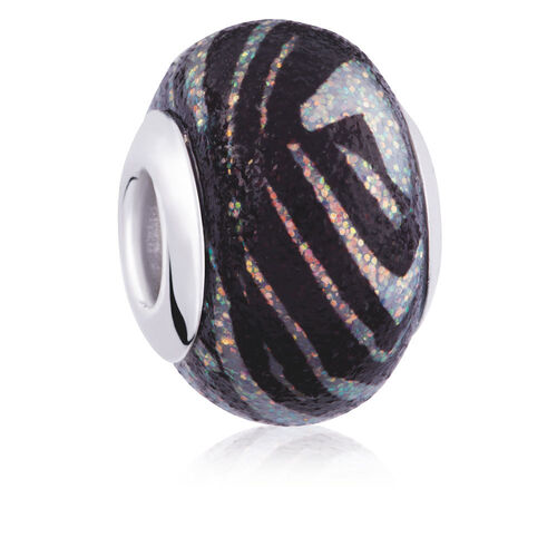 Black & White Stripe Glitter Charm