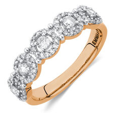 Halo Stacker Ring with 1/2 Carat TW of Diamonds in 10ct Rose Gold