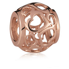 10ct Rose Gold Heart Filigree Charm