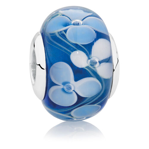 Blue & White Glass & Sterling Silver Flower Patterned Charm