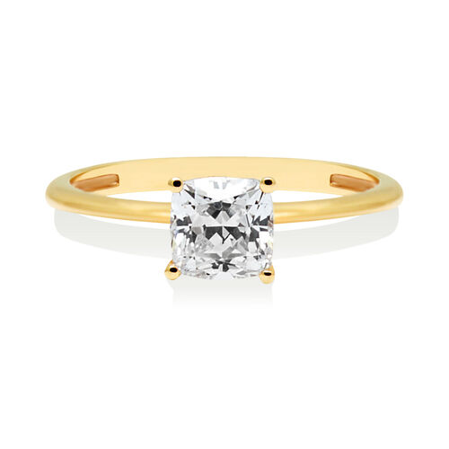 Cushion Cut Solitaire Ring with Cubic Zirconia in 10ct Yellow Gold