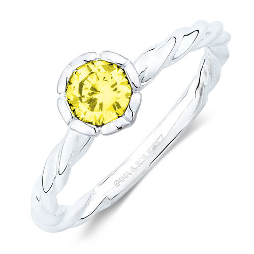 November Stacker Ring with Yellow Cubic Zirconia in Sterling Silver