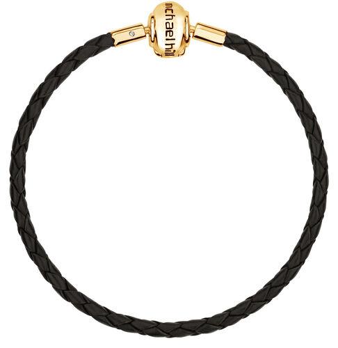 "Black Leather 19cm (7.5"") Charm Bracelet"