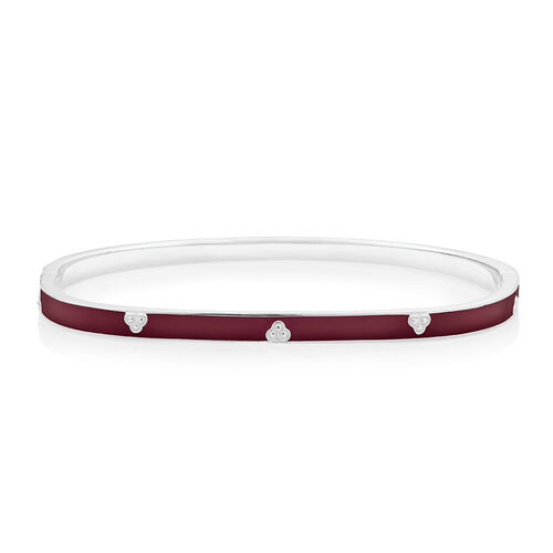 Bangle with Maroon Enamel in Sterling Silver