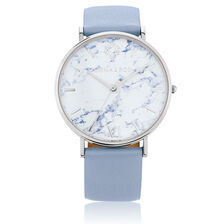 Large Watch in Light Blue Leather & Stainless Steel