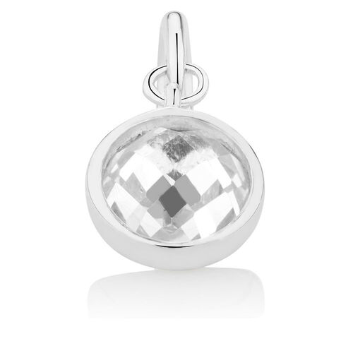 Wild Hearts Dangle Charm with Cubic Zirconia in Sterling Silver