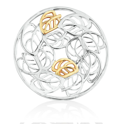 Leaf Pattern Coin Locket Insert in Sterling Silver & 10ct Yellow Gold