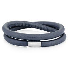 "Slate Leather 41cm (16.5"") Wild Hearts Double Wrap Bracelet"