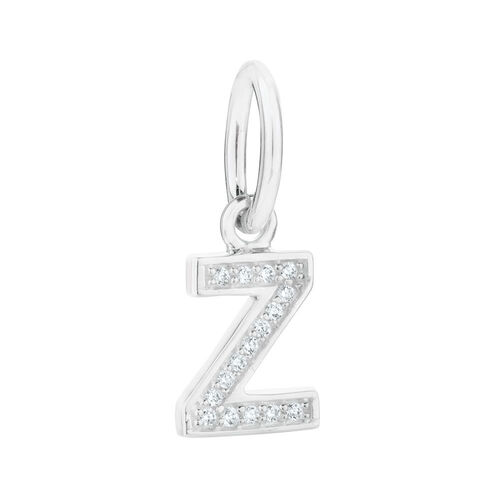 """""""Z"""" Initial Mini Pendant with Cubic Zirconia in Sterling Silver"""