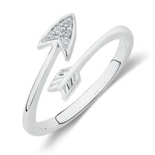 Arrow Midi Ring with Cubic Zirconia in Sterling Silver