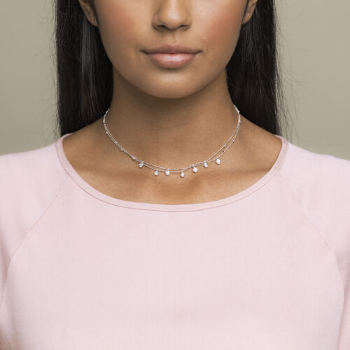 Double Layer Necklace with Cubic Zirconia in Sterling Silver