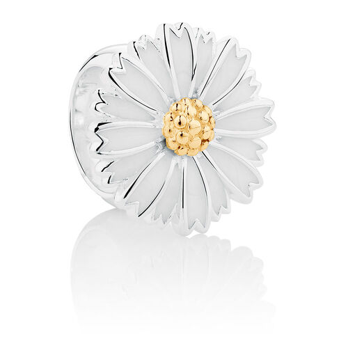 Wild Hearts Flower Charm with White Enamel in Sterling Silver & 10ct Yellow Gold