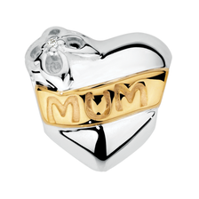 Diamond Set, 10ct Yellow Gold & Sterling Silver 'Mum' Charm